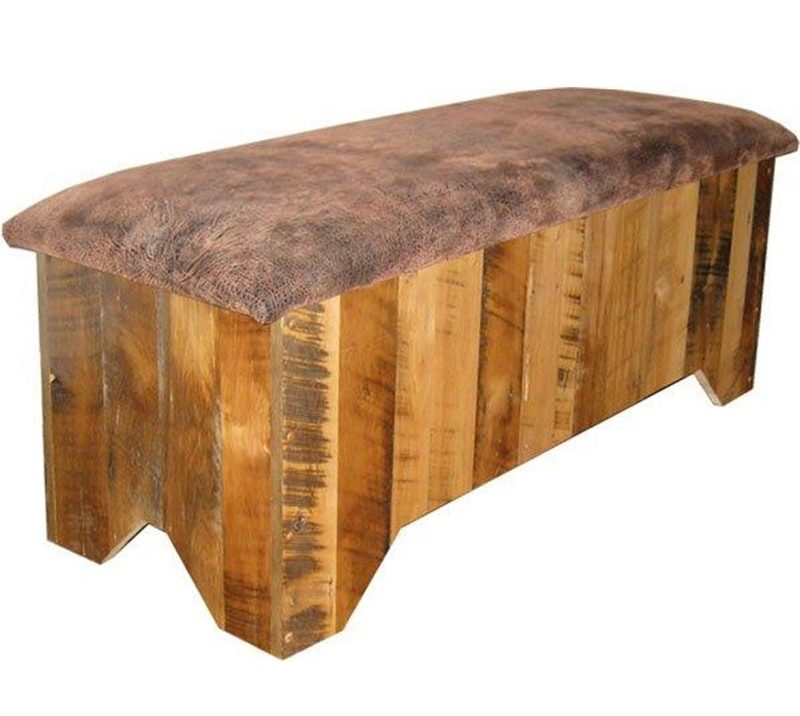 Rustic Reclaimed Barn Wood Seat Top Blanket Chest