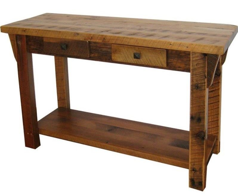 Rustic Reclaimed Barn Wood Sofa Table With Shelf