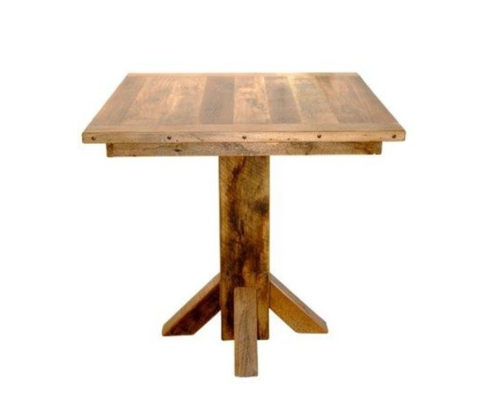 Rustic Reclaimed Barn Wood Pedestal Pub Table In Counter Or Bar Height (36″ Square Top)