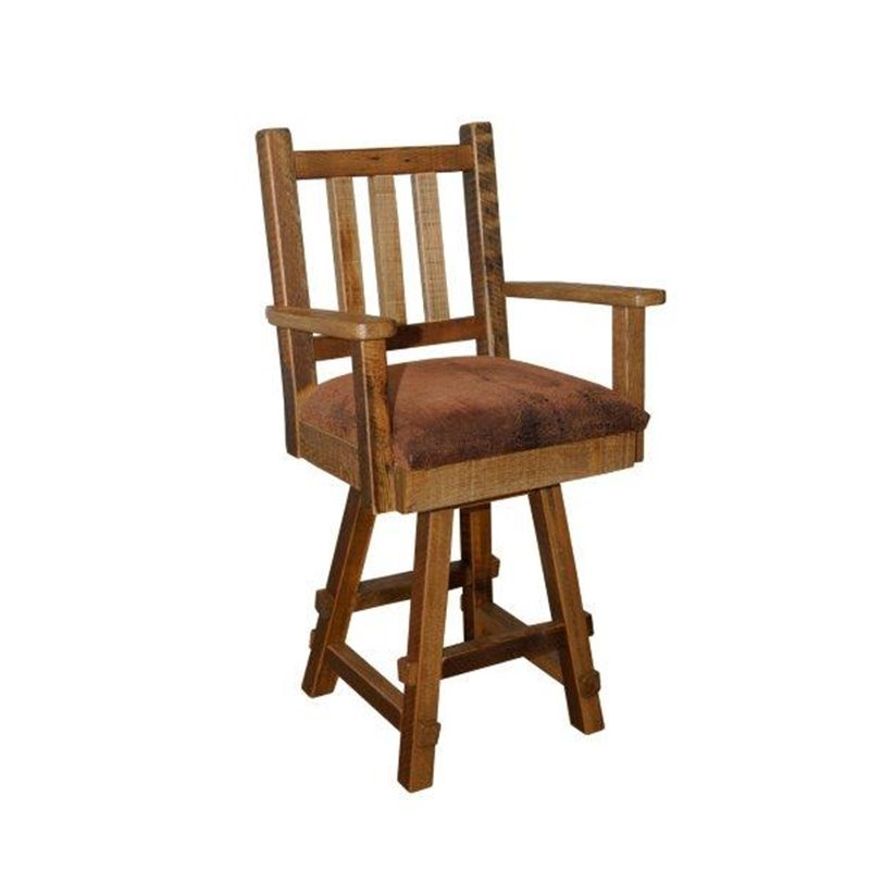 Rustic Reclaimed Barn Wood Swivel Bar Stool With Back, Arms, And Upholstered Seat