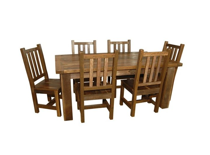 Rustic Reclaimed Barn Wood Dining Table With 6 Chairs