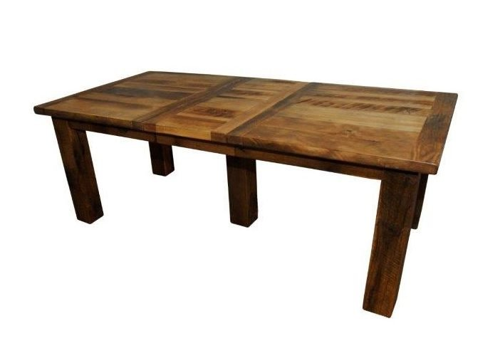 Rustic Reclaimed Barn Wood Extension Dining Table With 2 Leaves