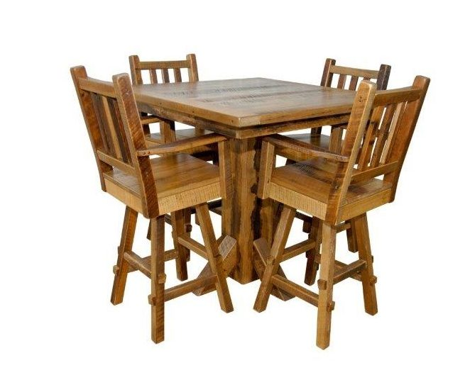 Rustic Reclaimed Barn Wood Pedestal Pub Table With 4 Stools In Counter Or Bar Height