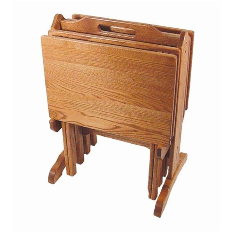 Oak Folding TV Tray Set With Storage Stand