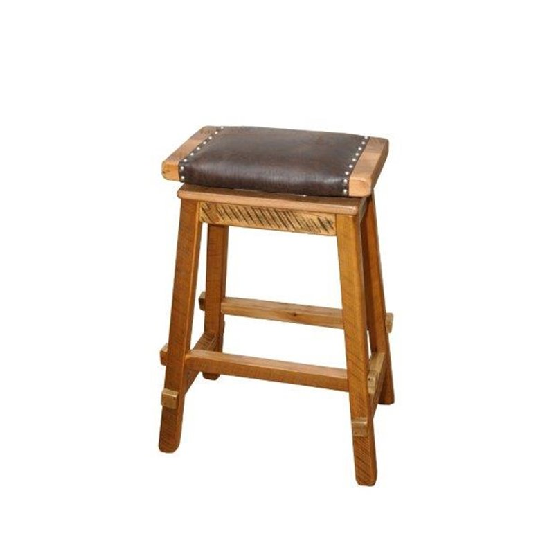 Rustic Reclaimed Barn Wood Swivel Saddle Stool With Wide Padded Seat – Counter Or Bar Height