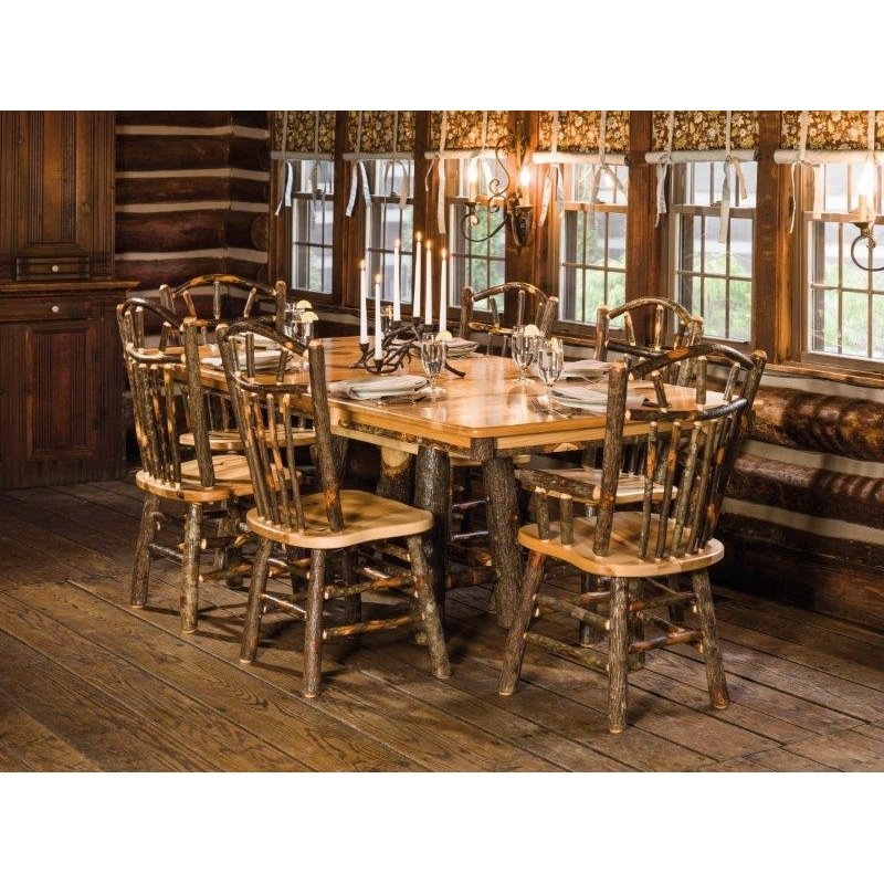 72 Inch Hockory Trestle Table with 6 Wagon Wheel Chairs (B271A and B271)