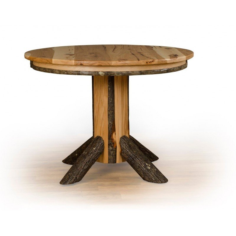 Rustic Hickory Single Pedestal Round Extension Dining Table