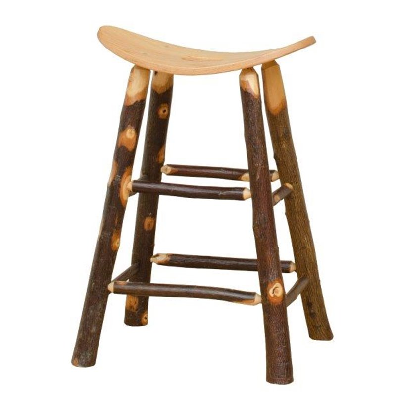 Rustic Hickory Saddle Stool – Counter Or Bar Height