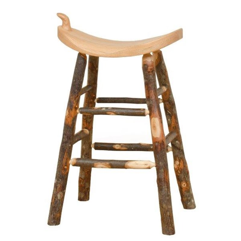 Rustic Hickory Western Saddle Stool – Counter Or Bar Height