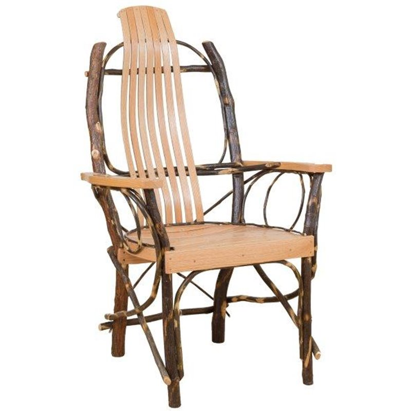 Rustic Hickory Contour Slat Back Chair