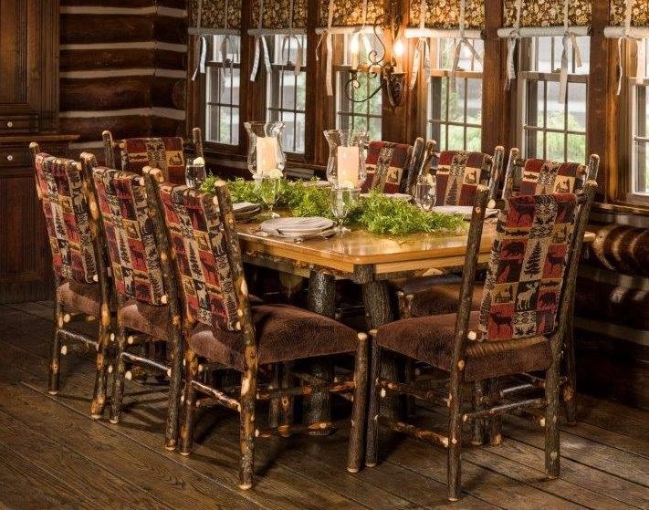 Rustic Hickory Trestle Style 72″ Dining Table With 8 Chairs