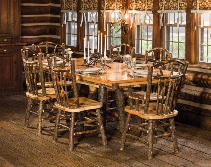 Rustic Hickory Trestle Style 72″ Dining Table With 6 Chairs