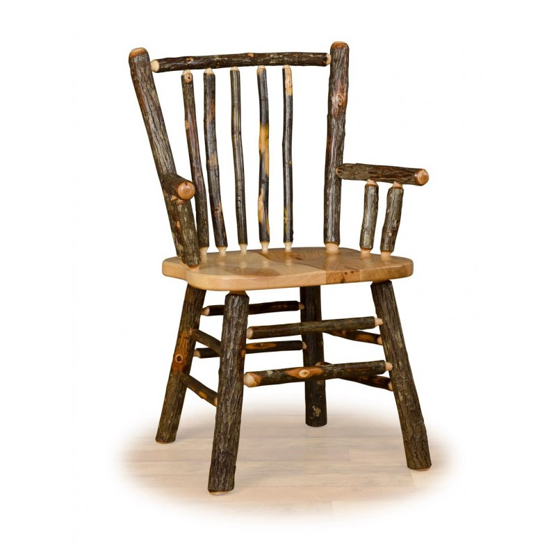 Complete Rustic Hickory & Oak Dining Room Set - Stick Back Dining Chair with arms