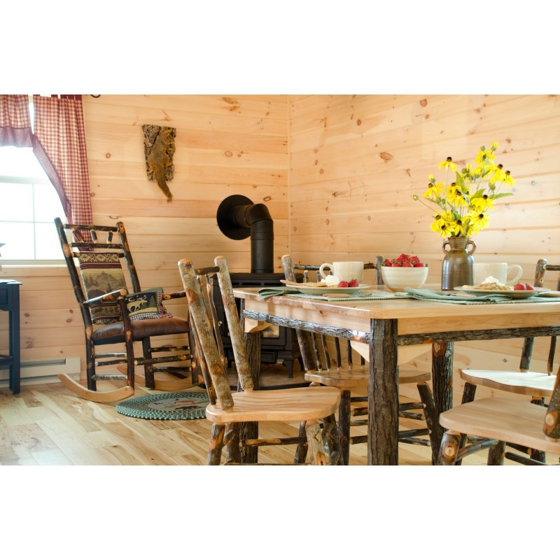 """Complete Rustic Hickory & Oak Dining Room Set - 60"""" Table & 6 Chairs"""