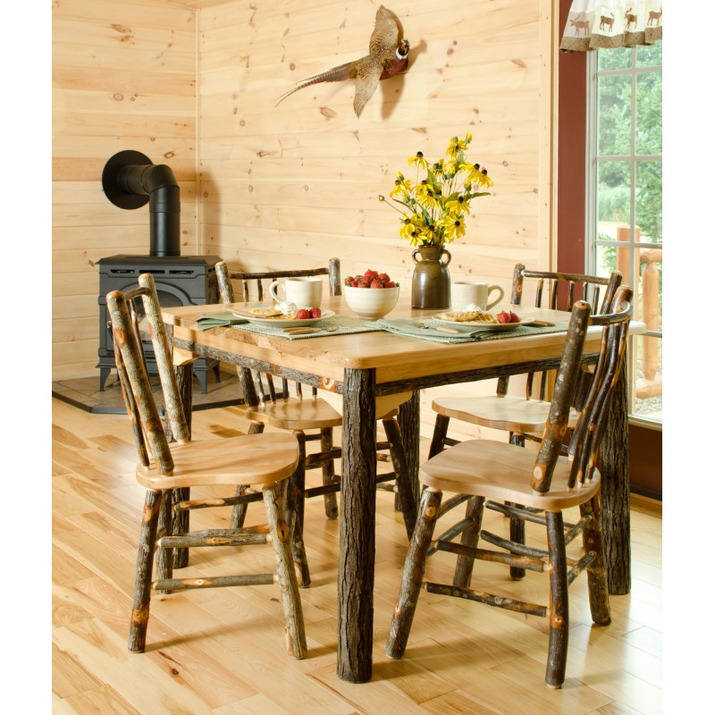 Rustic Hickory Solid Top 60″ Table With 6 Chairs