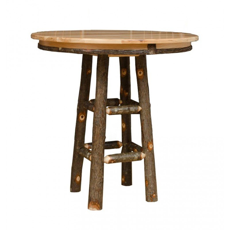 Rustic Hickory Bar Height Pub Table – 36″ Or 42″ Round Top