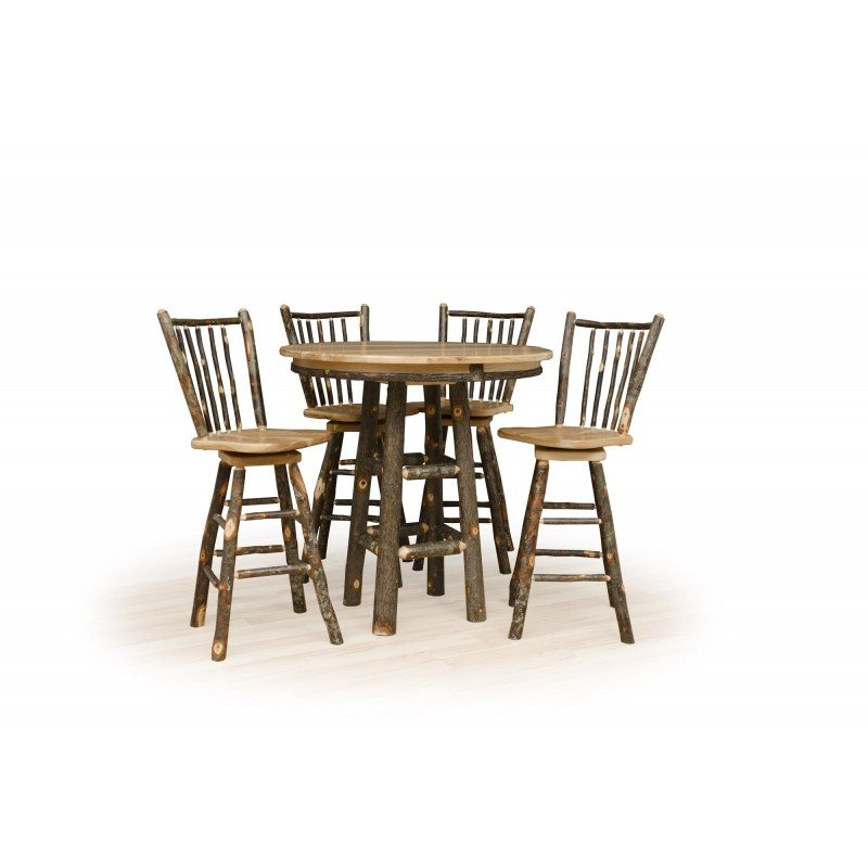 """Rustic Hickory Round Pub Table for 24"""" or 30"""" Bar Stools"""