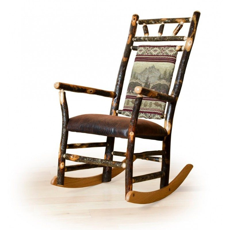 Rustic Hickory Fabric Back Rocking Chair & Ottoman Set