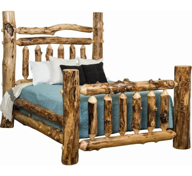 Rustic Aspen Log Grand Bed – Available In King Or Queen