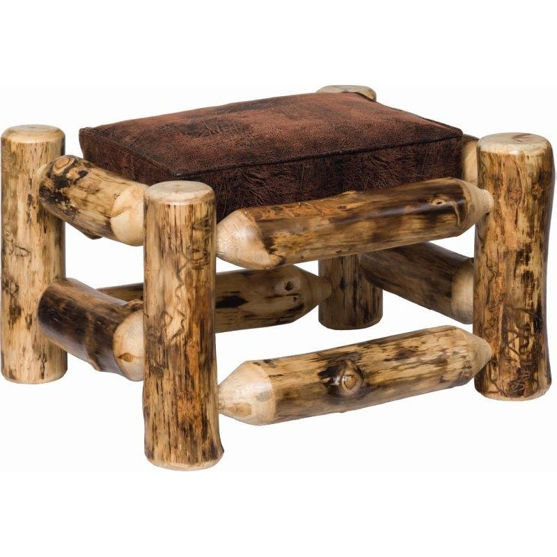 Rustic Aspen Log Padded Ottoman/Footrest