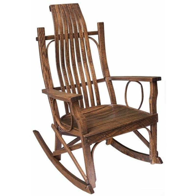 Rough Sawn Oak Flat Arm Rocking Chair In Urban Walnut Stain