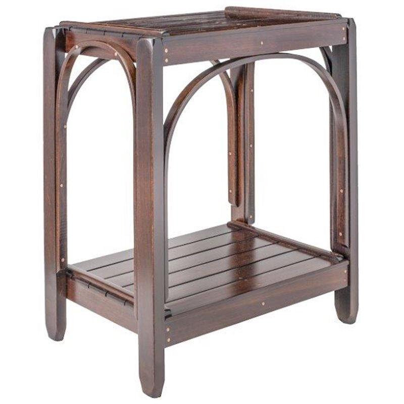 Brown Maple 2 Tier Side Table In Rich Tobacco Stain