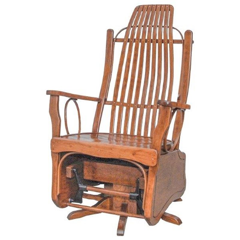 Cherry Wood Flat Arm Swivel Glider
