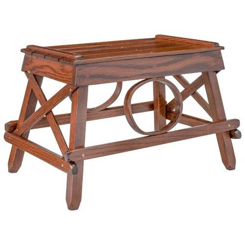 Oak Stationary Foot Stool/Ottoman In Michael's Cherry Stain