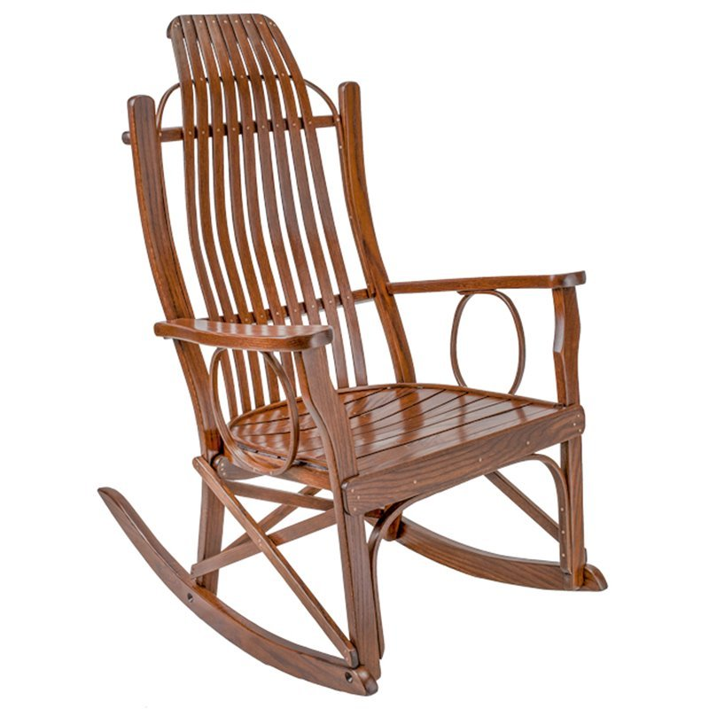Bent Oak Flat Arm Rocker In Michael's Cherry Stain