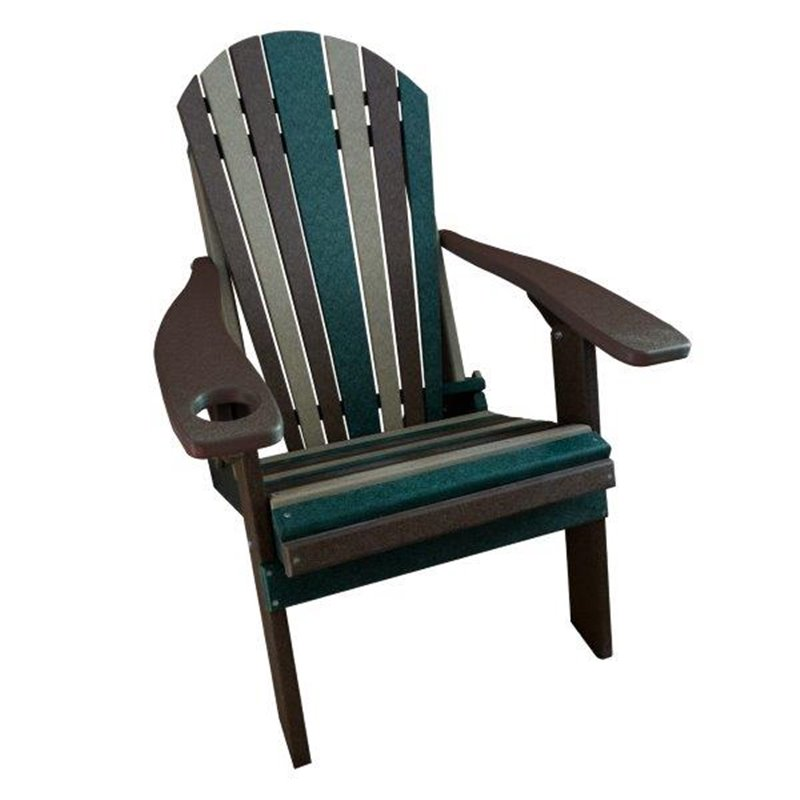CAMO Style Folding Poly Fanback Adirondack Chair – 1 Cup Holder