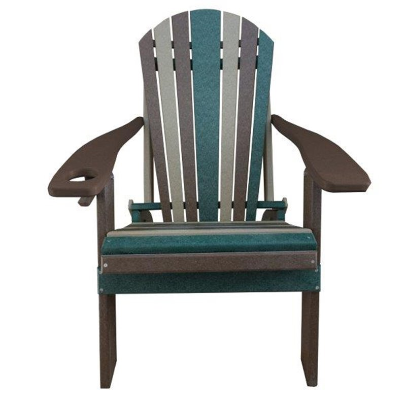 CAMO Style Folding Poly Fanback Adirondack Chair - 1 Cup Holder