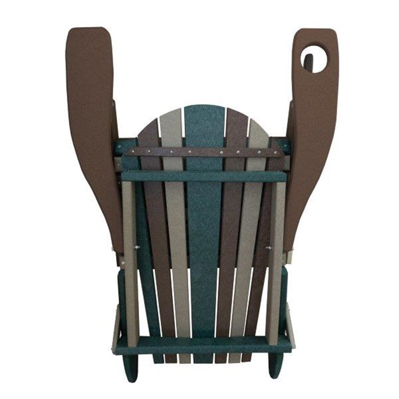 CAMO Style Folding Poly Fanback Adirondack Chair - 1 Cup Holder - Folded