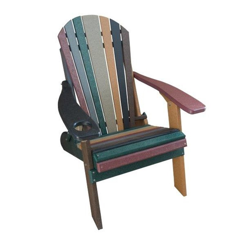 STRIPED Earth Tone Style Folding Poly Fanback Adirondack Chair – 1 Cup Holder