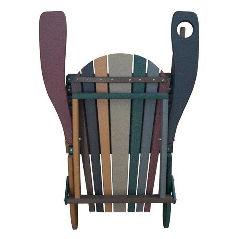 Striped Earth Tone Style Folding Poly Fanback Adirondack Chair - 1 Cup Holder - FOLDED