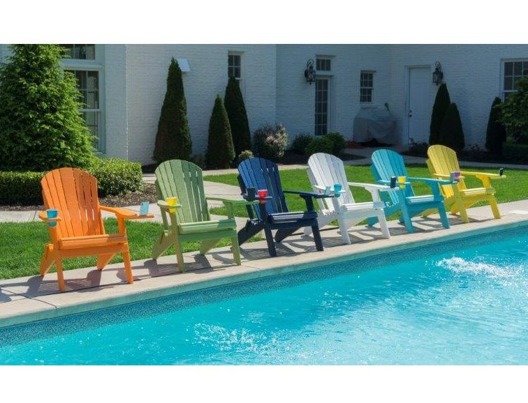 Poly Lumber Folding Adirondack Chair With Cup Holder & Rotating Phone Or Tablet Holder