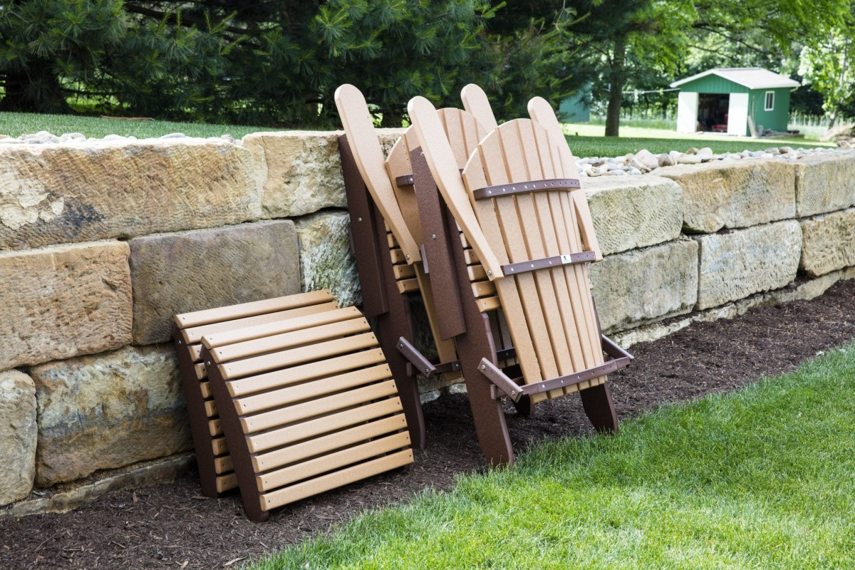 Berlin Gardens Comfo Back Folding Adirondack Chairs and Ottomans