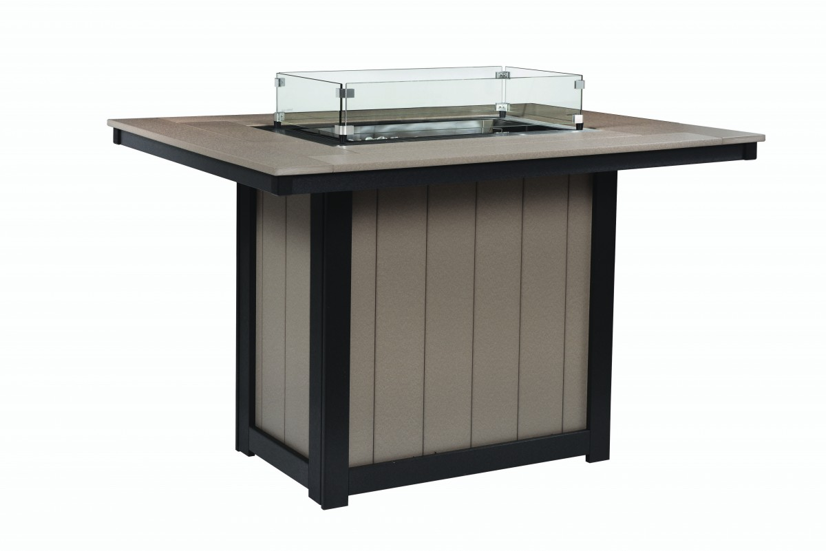 Berlin Gardens Donoma Rectangular Fire Table With Hammered Finish Table Top