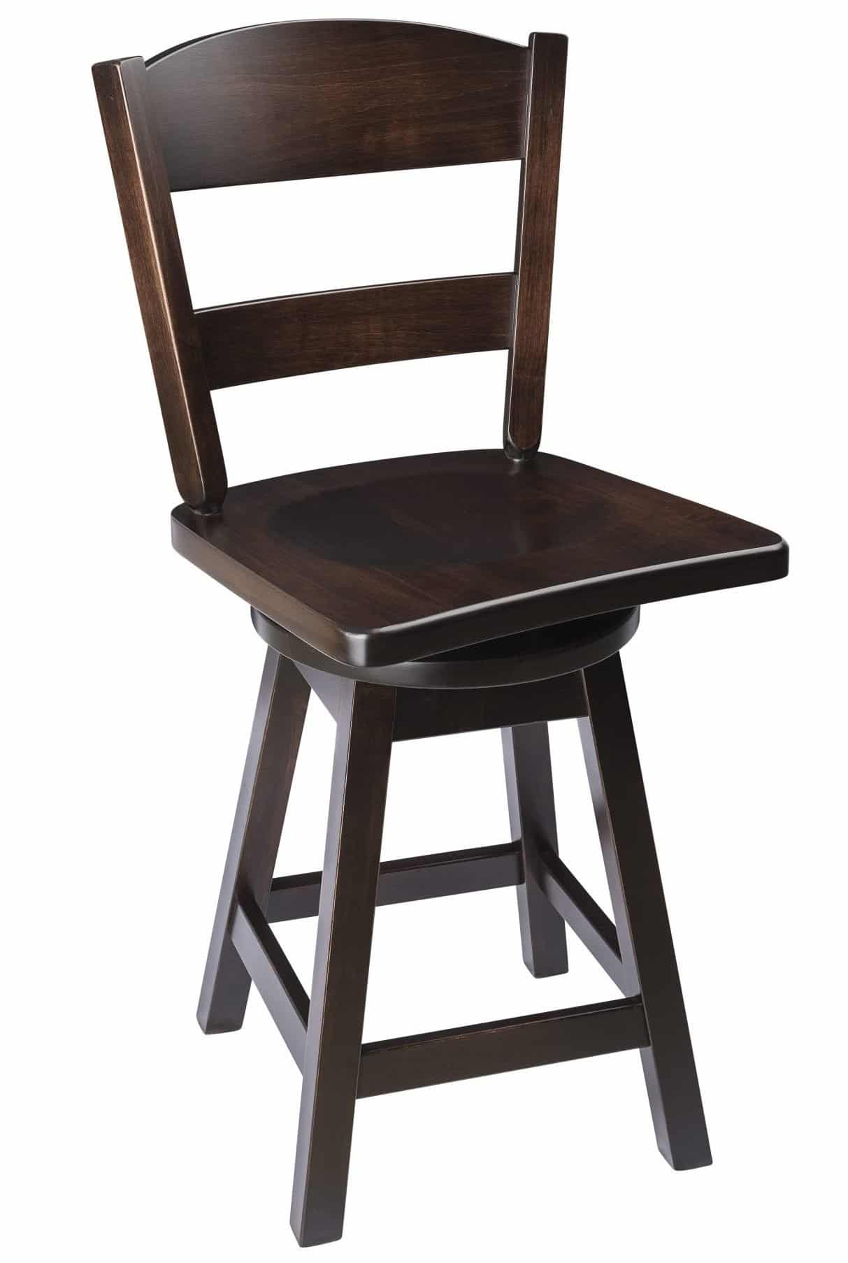 Classic Back Swivel Bar Stool In Maple Wood