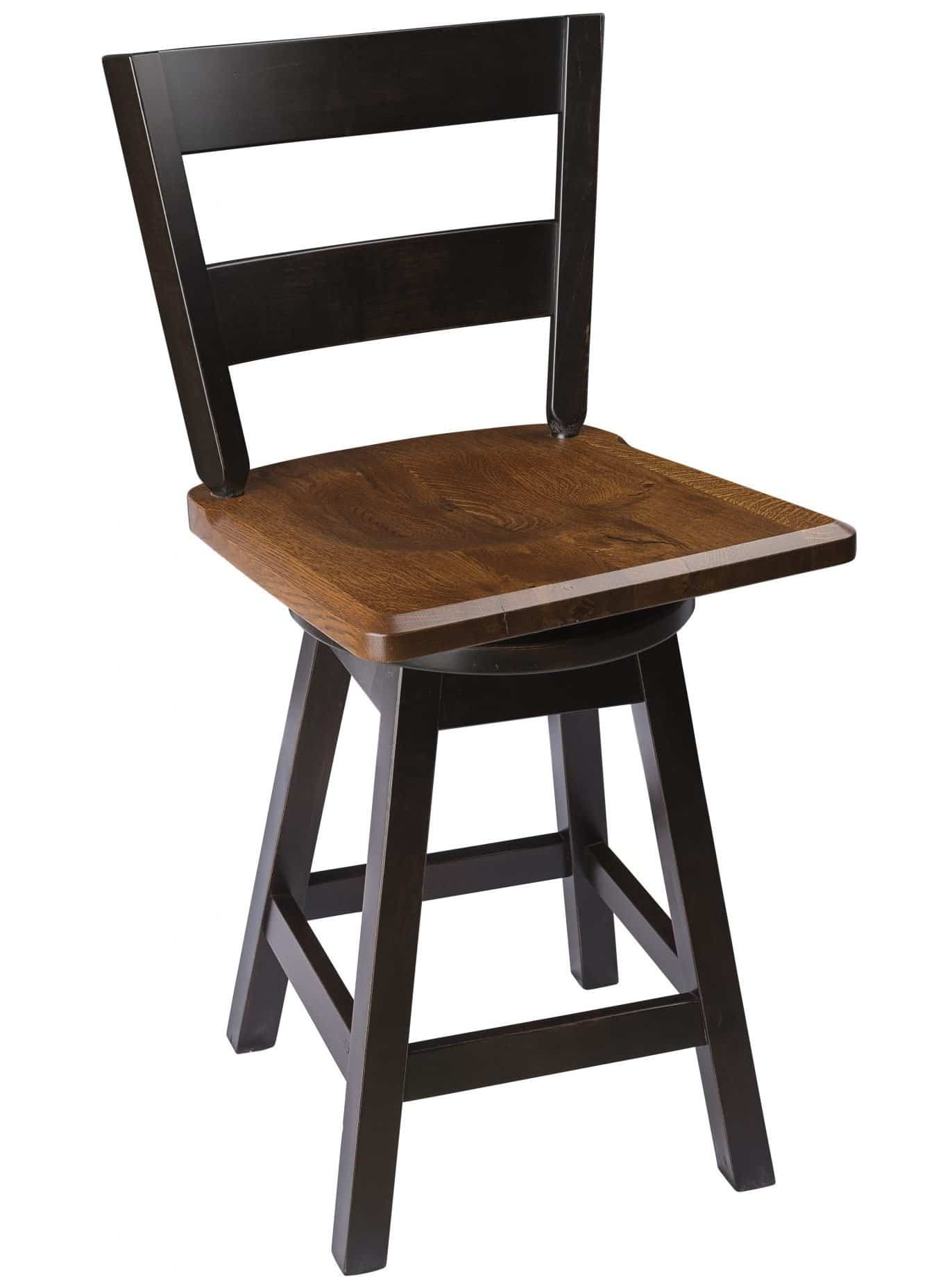 Straight Back Swivel Bar Stool In Quarter Sawn Oak