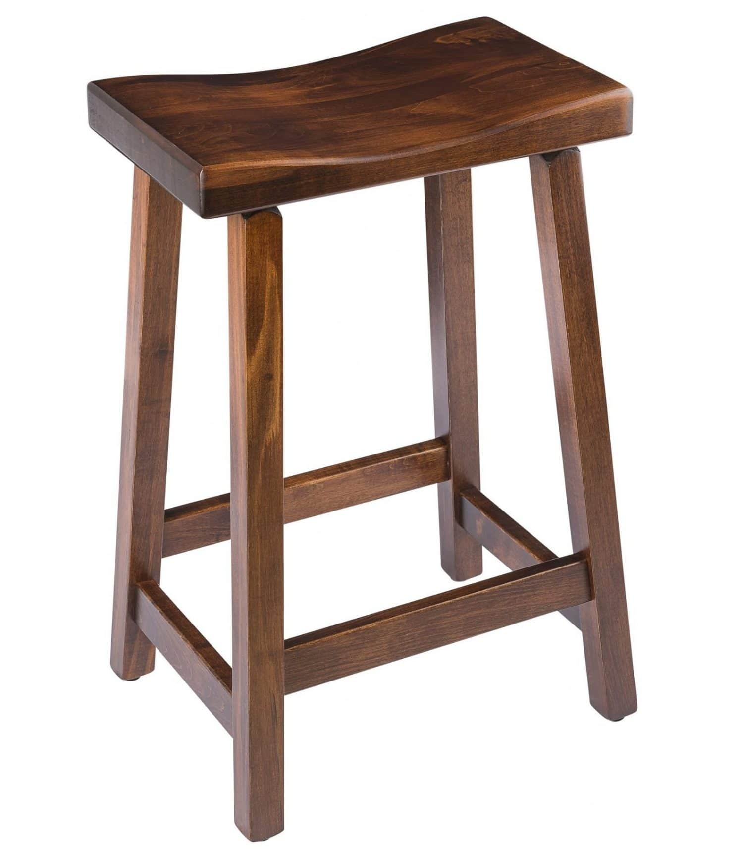 Saddle Bar Stool In Maple Wood