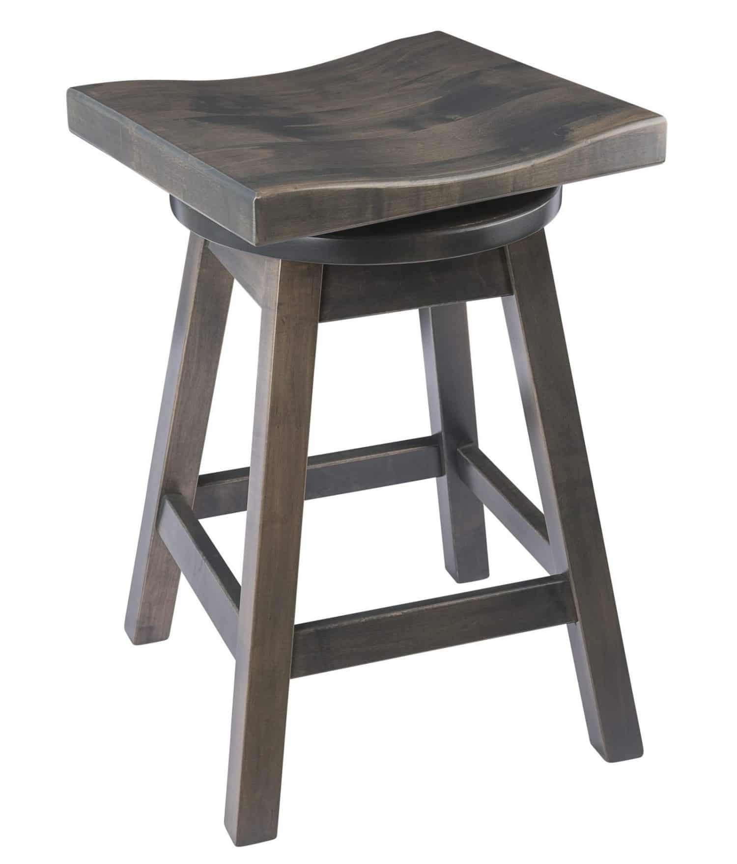 Saddle Swivel Bar Stool In Maple Wood