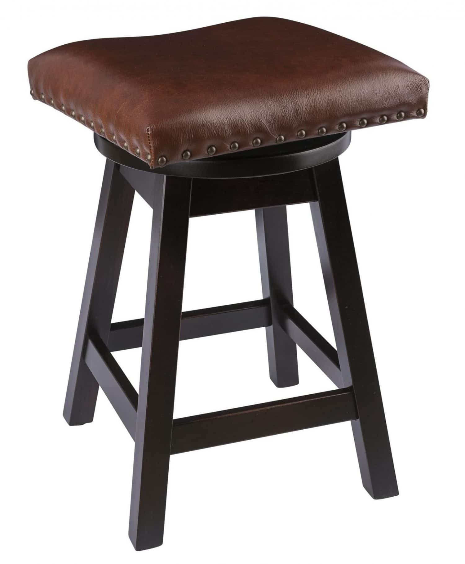 Backless Swivel Bar Stool With Leather Seat