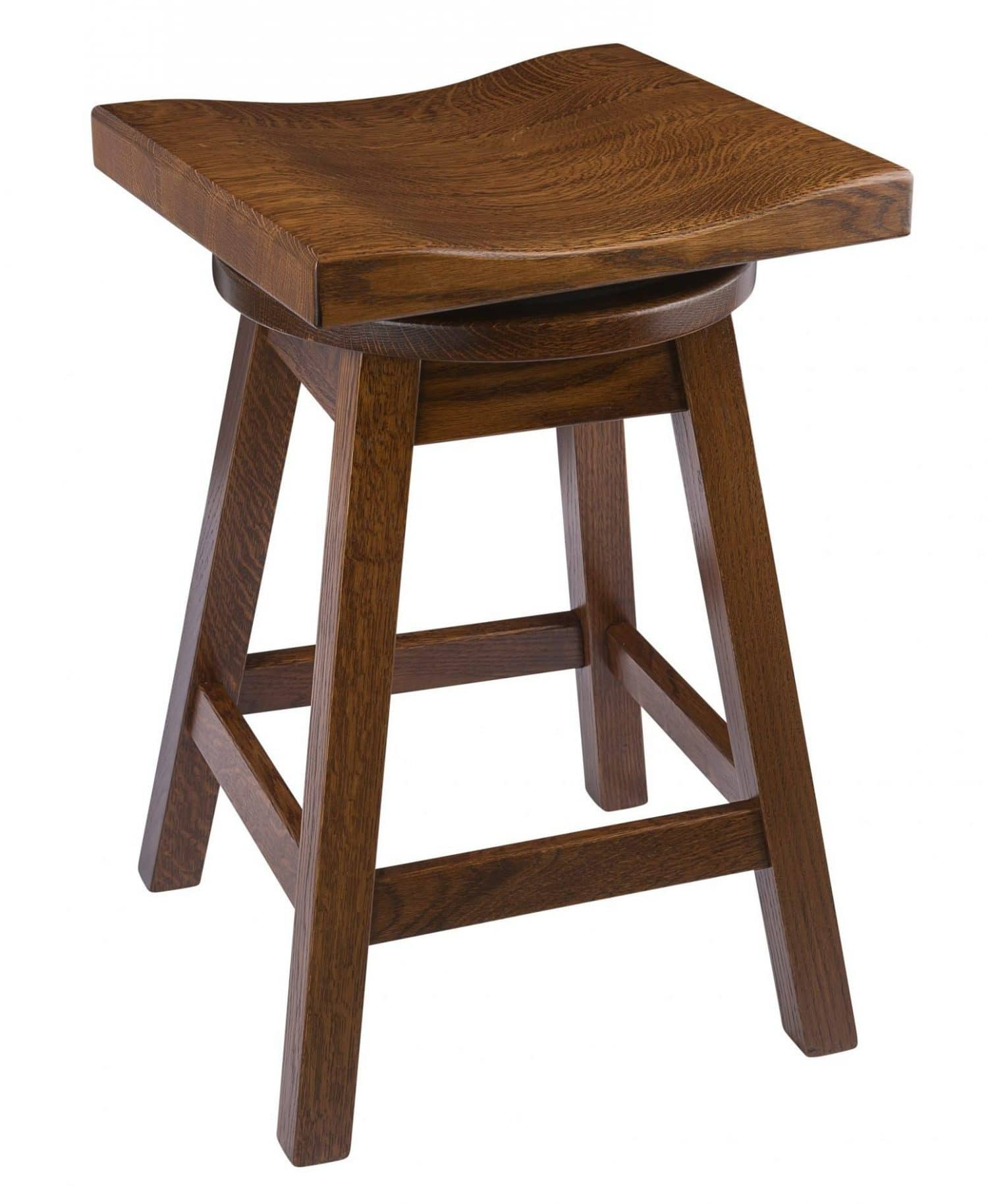 Saddle Swivel Bar Stool In Quarter Sawn Oak