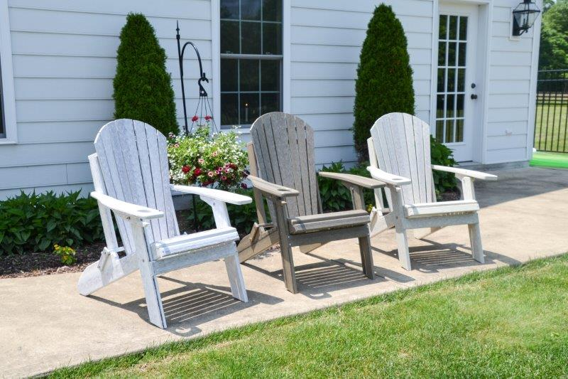 Fanback Folding Adirondack Chair In Poly Lumber Recycled Plastic – Woodgrain Colors
