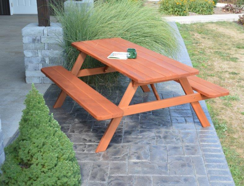 4′ Western Cedar Picnic Table With Attached Benches