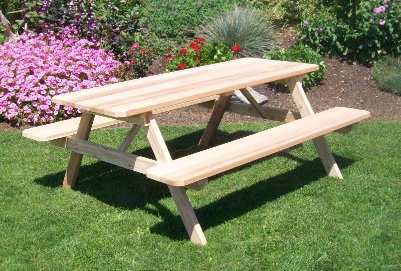 8 Foot Western Cedar Picnic Table With Attached Benches