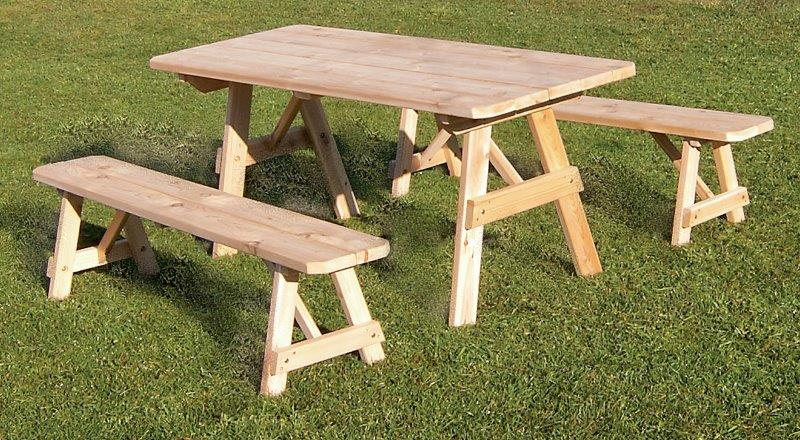 6 Foot Cedar Traditional Picnic Table With 2 Benches