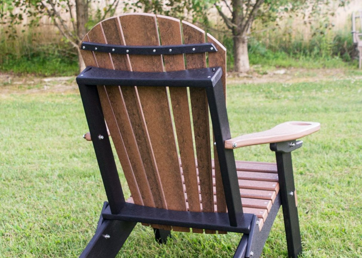 Two Tone Folding Adirondack Chair With Cup Holder In Poly