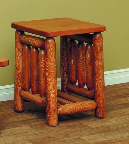Classic White Cedar Log Mission End Table