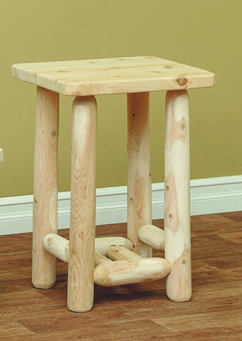 Classic White Cedar Log Adirondack End Table